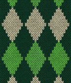 Style seamless green color knitted pattern — Vector de stock