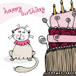 Royalty-Free Stock Vector Image: Birthday card with happy cat and cake