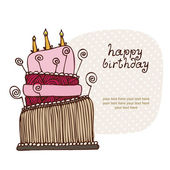 Birthday cake card with the text frame — Stock Vector
