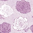 Pink seamless pattern with roses — Stock Vector