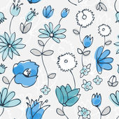 Blue little flower seamless pattern — Stock Vector
