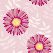 Pink aster seamless floral pattern — Stock Vector