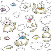 Dreaming cats seamless pattern — Stock Vector