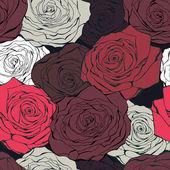 Retro rose seamless vector pattern — Stock Vector
