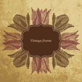 Vintage frame with tulips — Stock Vector