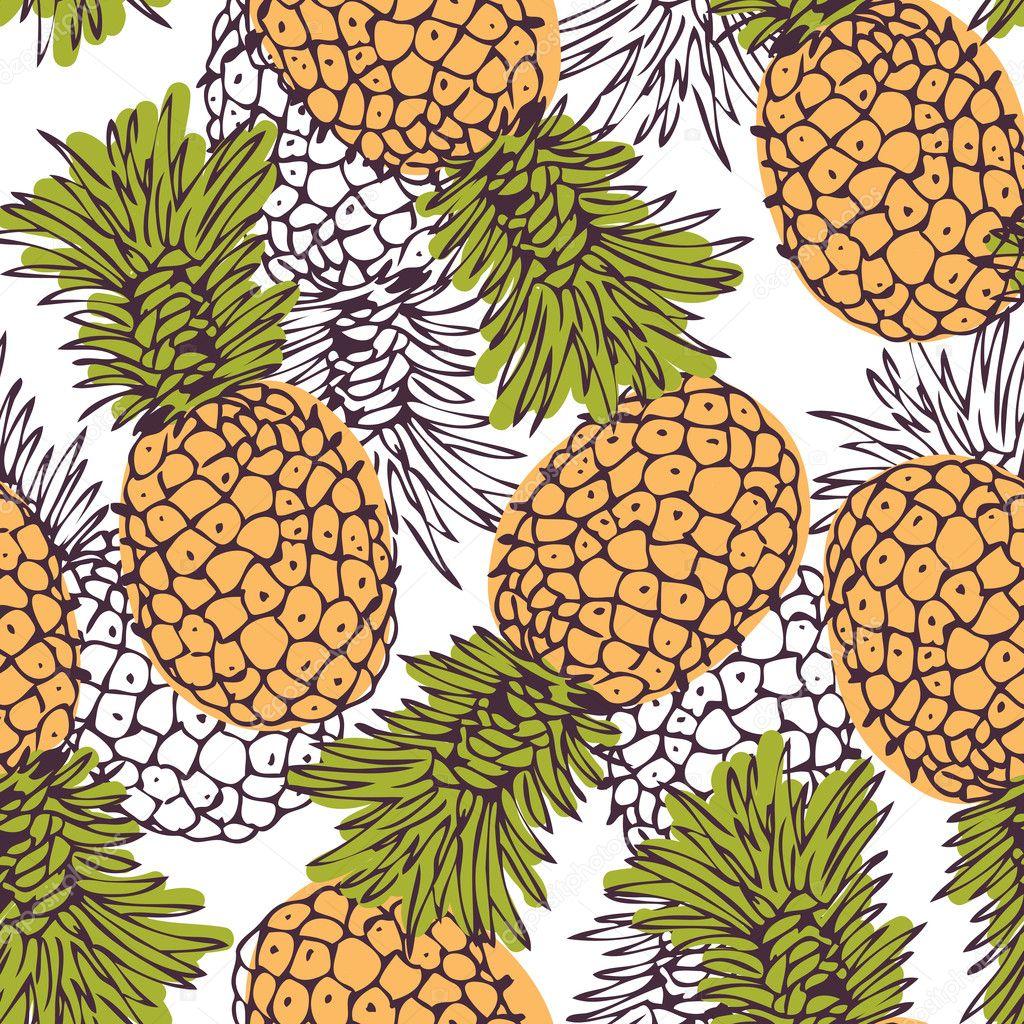 Pineapple background — Stock Vector © fandorina #9162189