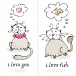 Cats love card — Vector de stock #9187608