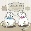 Cat card invitation — Vector de stock