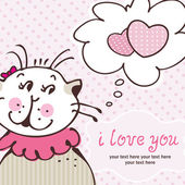 Cat in love on pink card — Stock Vector