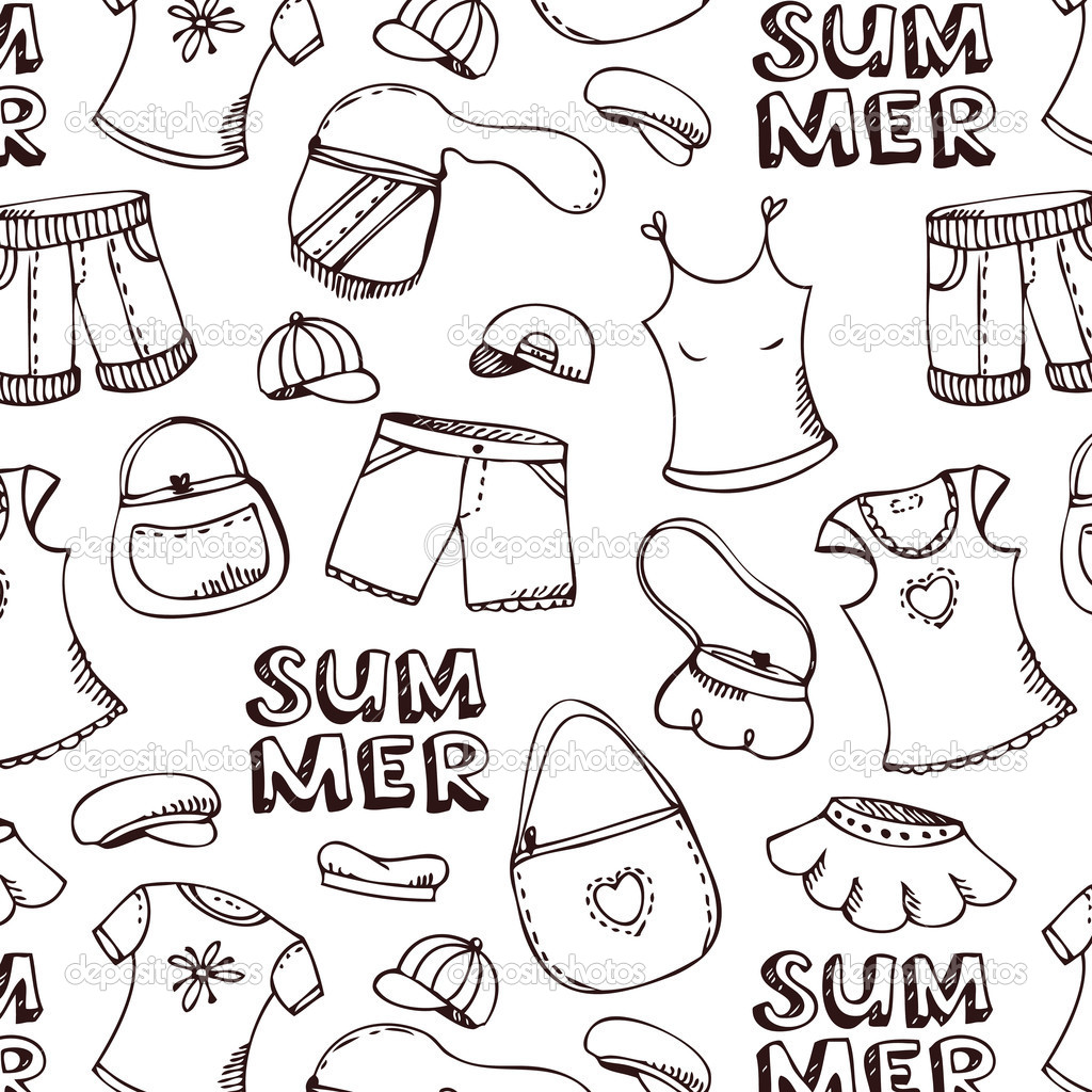 All Summer Clothes Colouring Pages