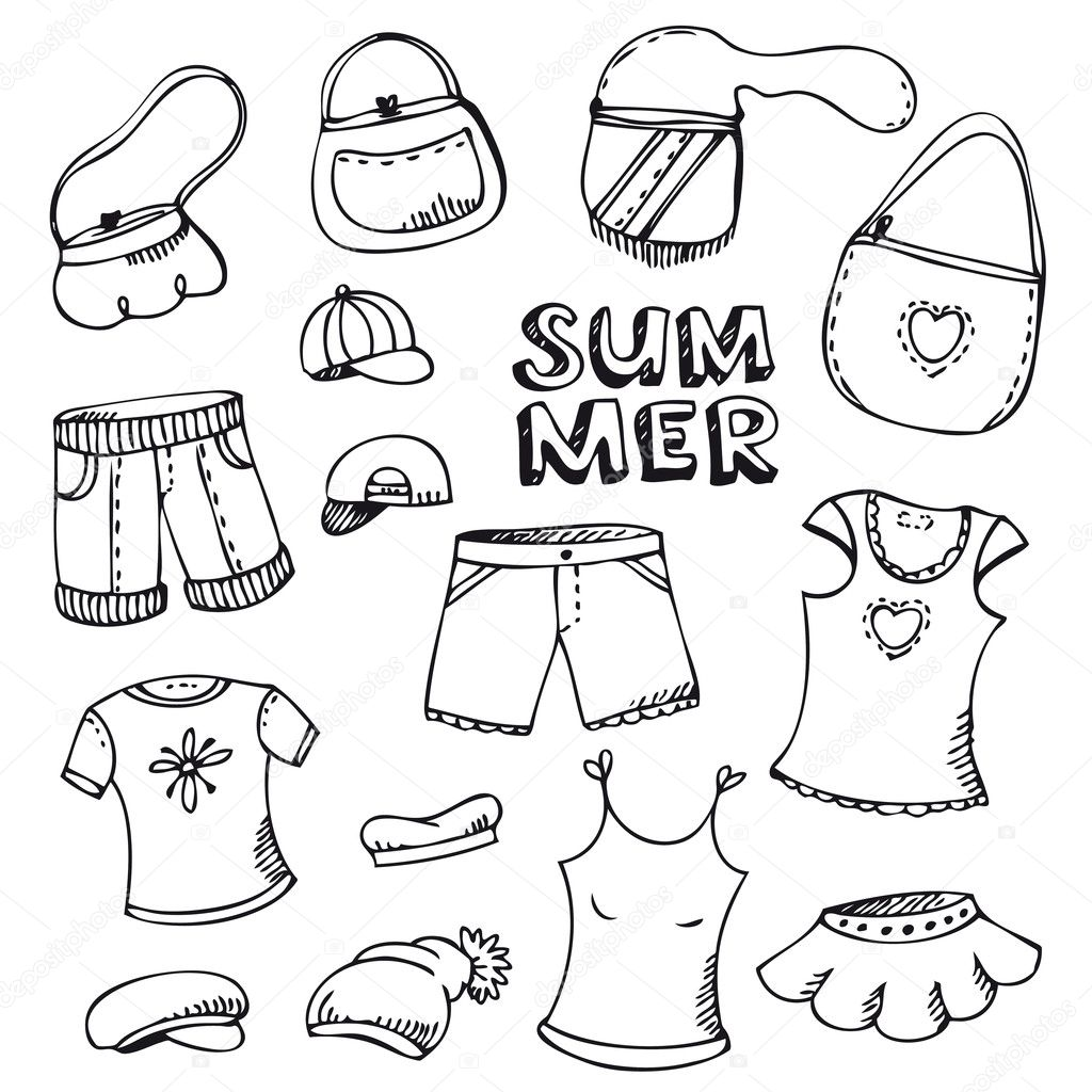 Free coloring pages of summer clothes to colour for Coloring pages of summer clothes