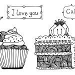 Vector sweet cakes — Stock Vector