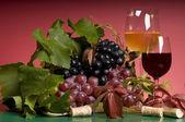 Vermelho vinho e uva em close-up — Fotografia Stock