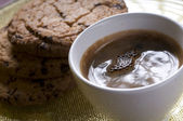 Coffee cup and chocolate cookies — Stock Photo