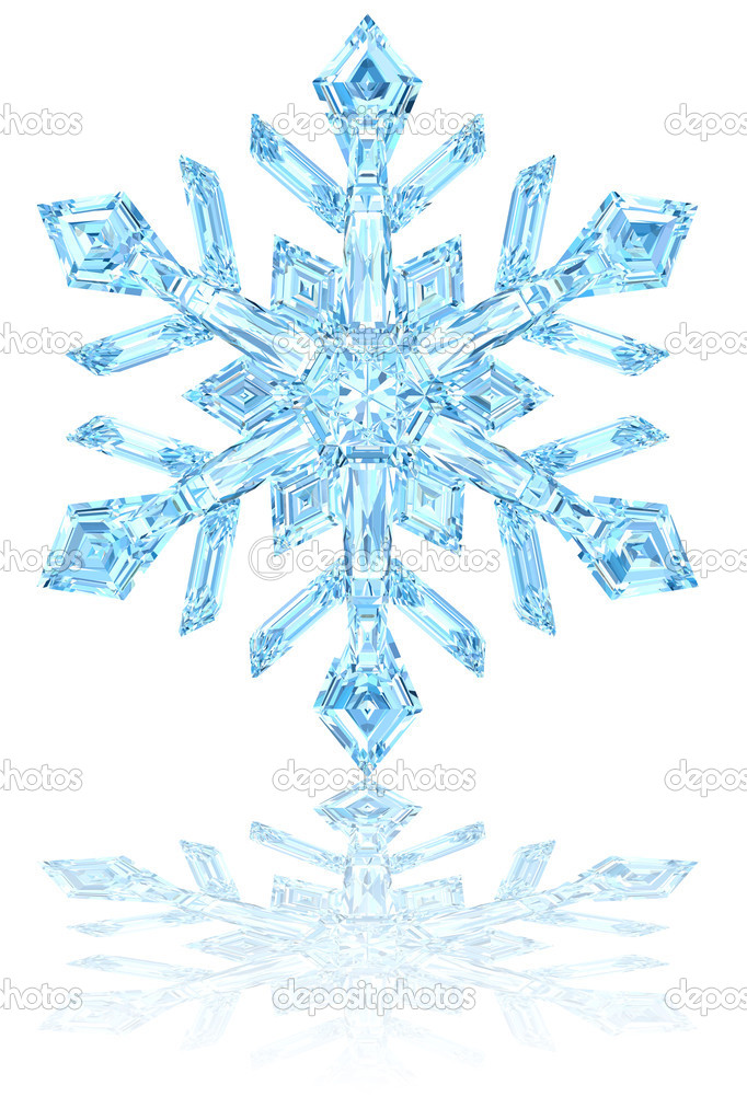 Light blue crystal snowflake on glossy white background. High resolution 3D image  Foto Stock #8834652