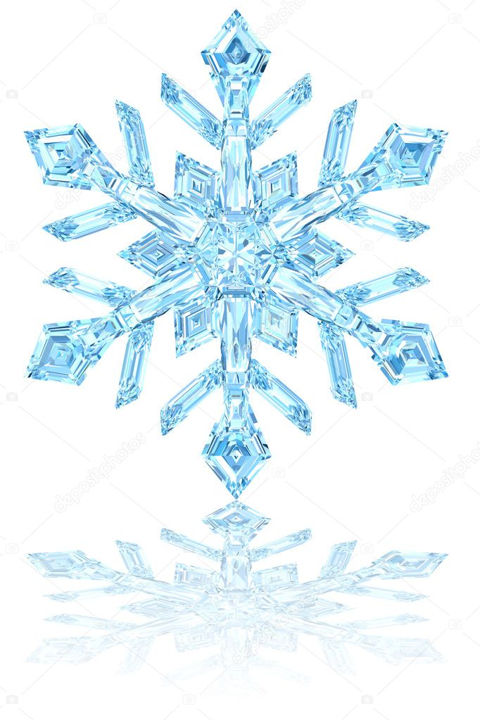 Light blue crystal snowflake on glossy white background. High resolution 3D image — Lizenzfreies Foto #8834652