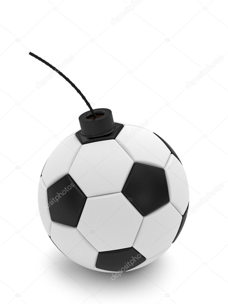 Soccer ball bomb on white. High resolution 3D image rendered with soft shadows — Lizenzfreies Foto #8834653