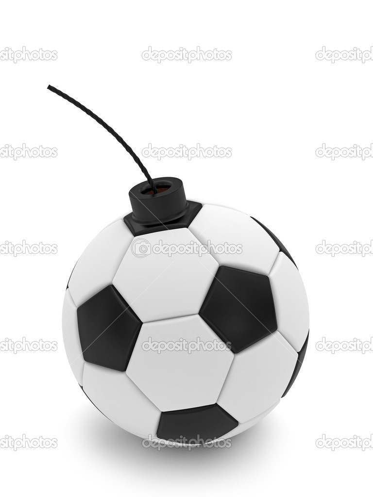 Soccer ball bomb on white. High resolution 3D image rendered with soft shadows — Foto Stock #8834653