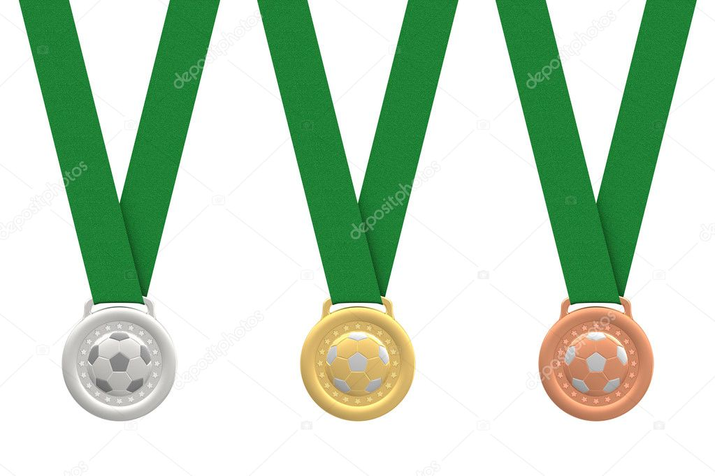 Gold, silver and bronze soccer medals with green ribbons on white background. High resolution 3D image — Stock Photo #9464701
