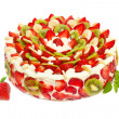 Fruit cake with strawberries and kiwi fruit isolated on white — Stock Photo
