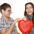 Funny guy nerdy and glamorous girl in a Valentine's Day — Photo
