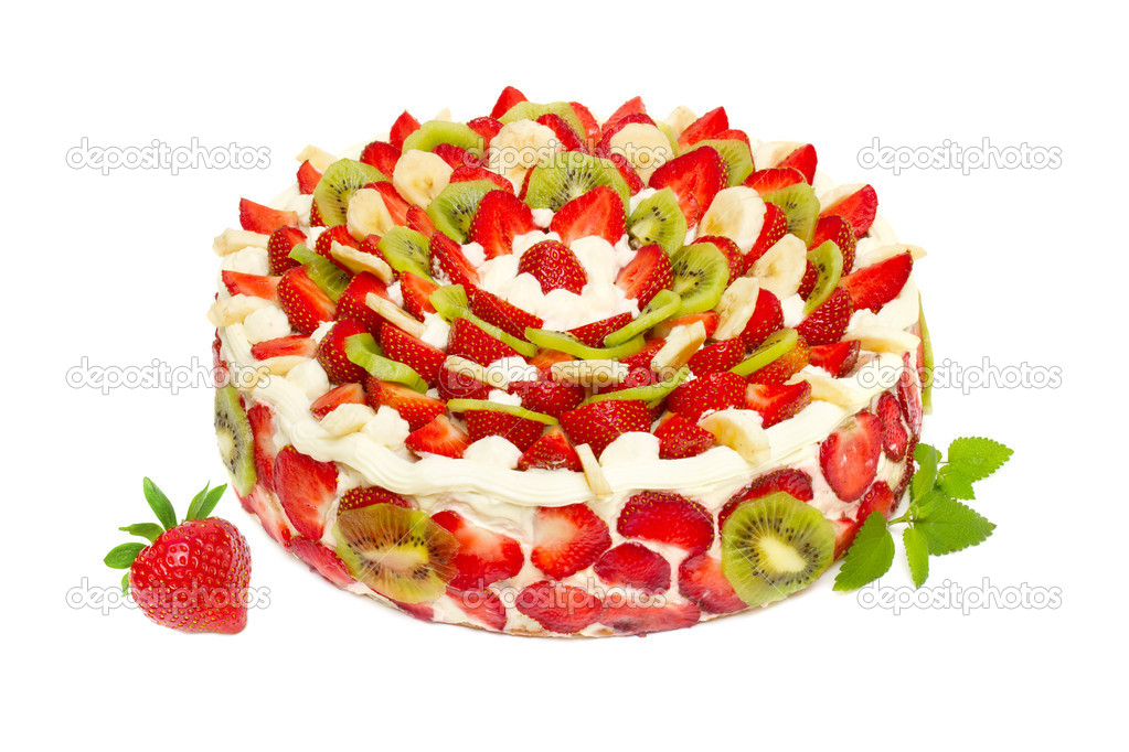 Fruit cake with strawberries and kiwi fruit isolated on white  Stock Photo #10527488