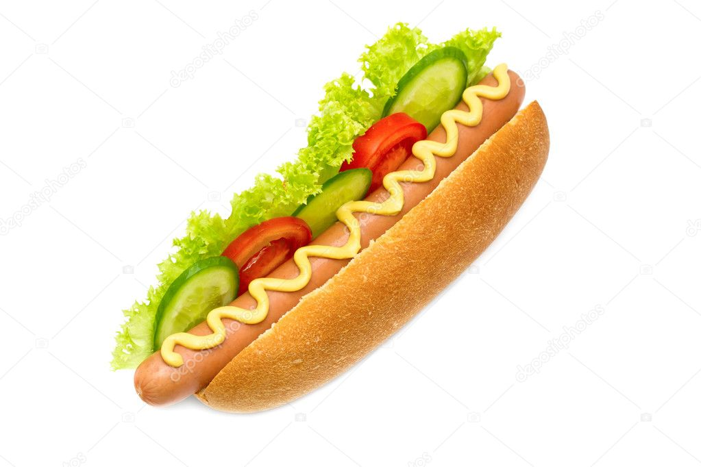 Hot dog with cucumbers, tomatoes, lettuce, and mustard on top isolated on white  Stock Photo #10527600