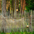 Fence in forest - Stock fotografie