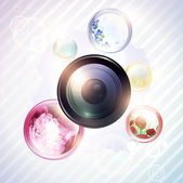 Camera lens with floral round shapes — Stock Vector