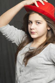 Girl with hat — Stock Photo