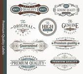 Vector decorative ornamental emblems of quality — Stock Vector