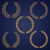 Vector set of golden laurel wreaths — Stock Vector