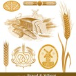 Vector set - bread and wheat - Stock Vector