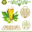 Stock Vector: Vector set - beer, hop and brewing