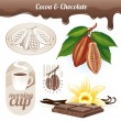 Vector set - Cocoa beans and chocolate - Stok Vektr