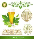 Vektor set - öl, hop och brygga — Stockvektor