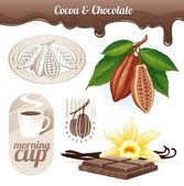 Vector set - Cocoa beans and chocolate — Stock Vector
