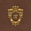 Vector illustration - golden royal coat of arms embossing on a leather - Stock Vector
