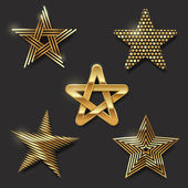 Vector set of golden decorative stars — Stock Vector