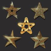Vector set of golden decorative stars — Stock Vector