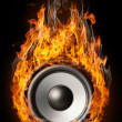 "Burning speaker - ""music style"" background — Stock Photo"