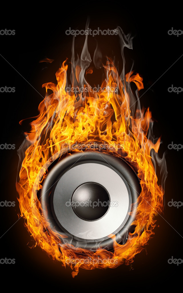 Burning speaker - music style background  Stock Photo #9035235