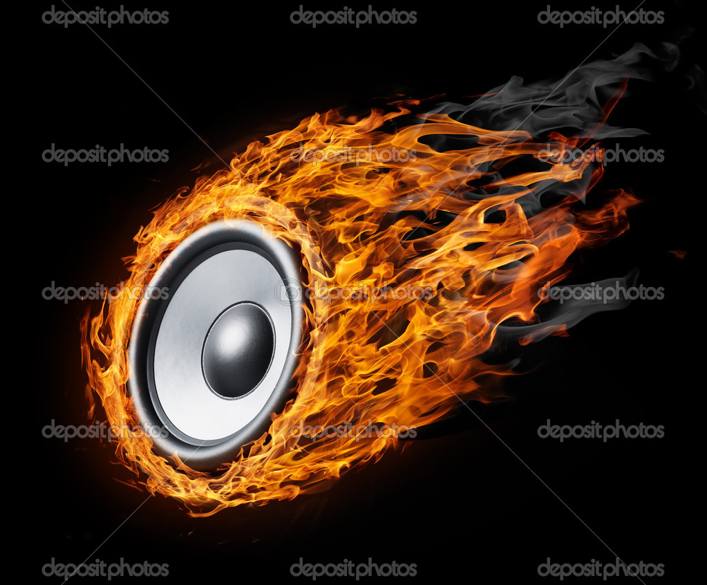 Burning speaker - music style background — Stock Photo #9035359