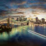 amazing new york stadsgezicht - genomen na zonsondergang — Stockfoto