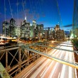 Amazing New York cityscape - taken after sunset - Stock Photo