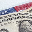 Stock Photo: Dollars and US entry visa