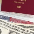 Stock Photo: Eu passport, money and US visa