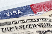 European Union passport, dollars and US visa — Stock Photo