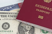 Eu passport, money and US visa — Stock Photo