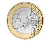 Six euro coin — Stock Photo